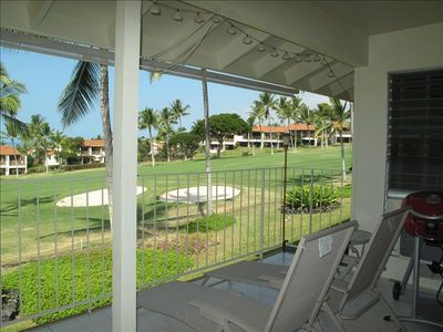 Enjoy the peaceful view from your lanai overlooking the Keauhou golf course.