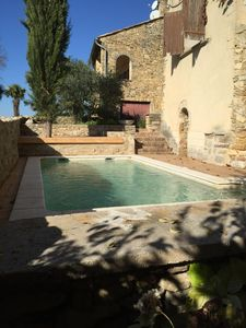 Photo for Large stone house with swimming pool in medieval village near Uzes, Avignon