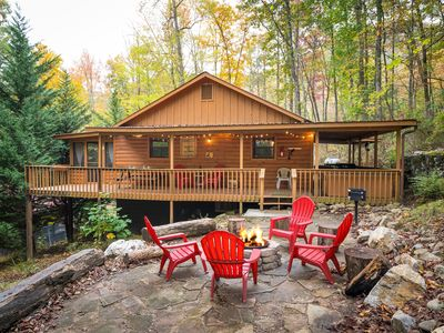 Photo for Cosby Rustic Treat! W/ Wrap Around Porch, Hot Tub, WiFi, & a Rock Fire-Pit!