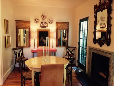 Dining area. French doors open to garden deck.