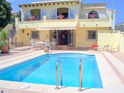 Photo for Peaceful Villa Private Pool Sea Views Barbecue Terrace Sandy Beach 1km