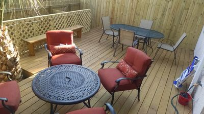 Roomy Back Deck with privacy fence!