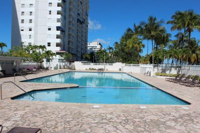 pool with condo