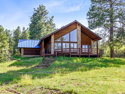Photo for Dog-friendly cabin w/large yard, wood stove, grill & mountain views