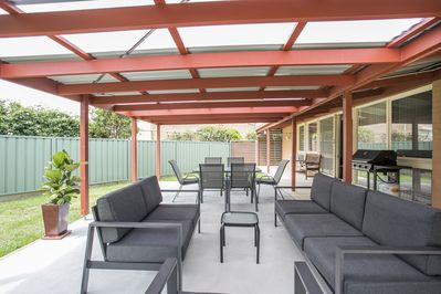 Lovely pergola area for outside entertaining and a four burner bar-b-que