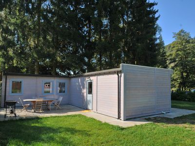 Photo for Modern chalet on a campsite, in a very good location on the Ourthe river.