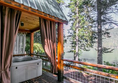 Covered private hot tub overlooking Fish Lake