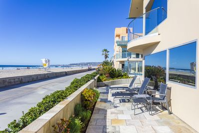 Your private patio right on the beach and boardwalk.