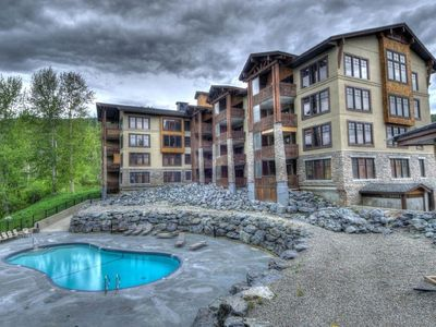 Photo for Luxury Condo  , Sleeps 8, private hot tub, outdoor pool on ski hill and golf