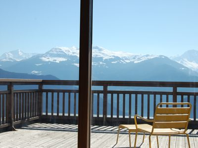 Photo for Heart of Doucy Valmorel resort terrace and view