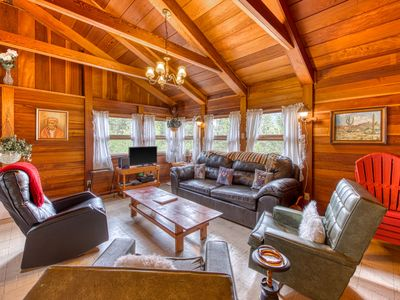 Photo for NEW LISTING! Charming, retro cabin w/ wrap-around deck and panoramic views!