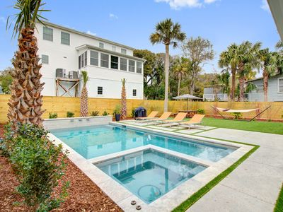 Photo for Bright, dog-friendly home w/ private hot tub & pool - short walk to beach