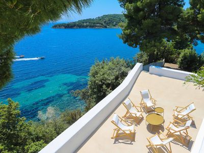 Photo for Beachfront Greek Villa in Skiathos with Semi Private Sandy Beach