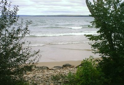 View of Lake Superior from the back deck, looking north towards Pictured Rocks