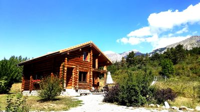 Photo for Chalet in logs of raw wood in south's alps . quiet, space and comfort