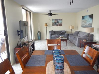 Living area with 55' screen tv and all new furniture