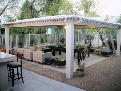 Great gazebo with pool table, ping pong and darts. Large lighted bar Lots of fun