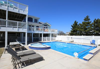 The House Decks facing the Ocean, Pool & Built in Kiddie Pool near covered porch