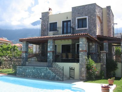 front of villa with private sunny pool