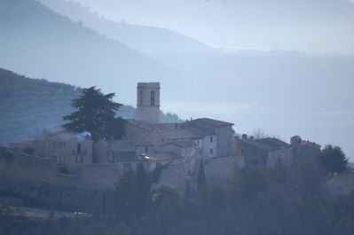 The castle rises above the valley of Spoleto