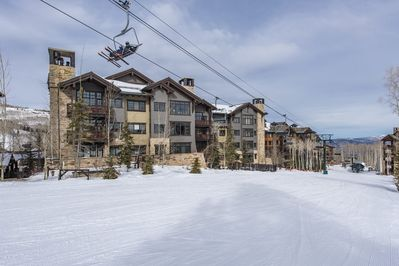 Arrowleaf building - ski and hike in/out.  Our unit has gorgeous views!