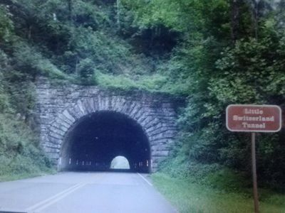 Go though Little Switzerland tunnel on Blue Ridge Parkway on way to MISTY RIDGE