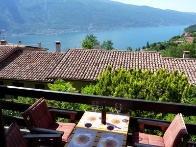 Photo for Nice place app. Lake Garda, wonderful lake view, balcony, garden, pool use
