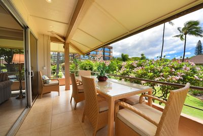 Extra long lanai with comfortable furniture. Enjoy most of your meals here