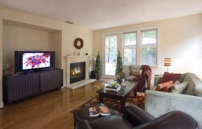 """Family Room with Gas Fireplace & 65"""" OLED tv"""