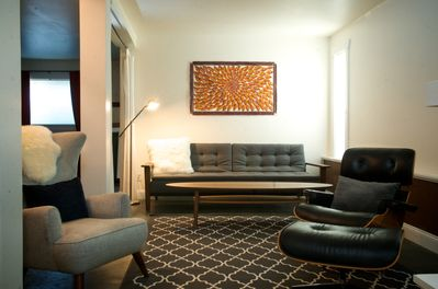 Comfortable Mid Century Modern furniture in the living room.