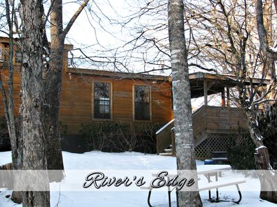 Photo for Cozy Riverside 1BR 'REAL LOG' Cabin - HOT TUB, FIREPLACE + (sleeps 6)