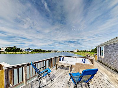 Photo for Oceanfront 3BR w/ Deck, Sunset Views, Private Dock & Beach Access