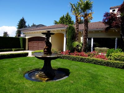 Gorgeous and private front yard of the home.