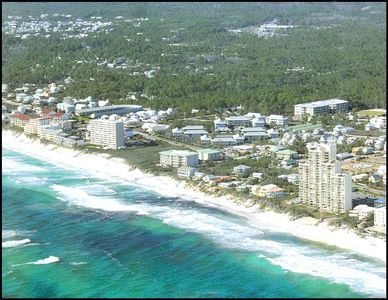Arial view of our beach. See why they call it Floridas emerald beaches!