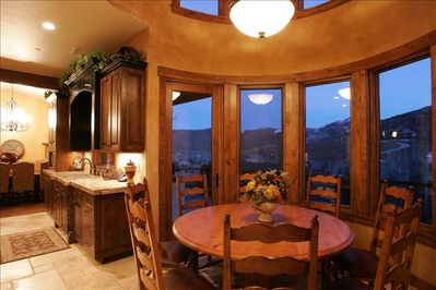 Breakfast Table adjacent to Kitchen with Spectacular View