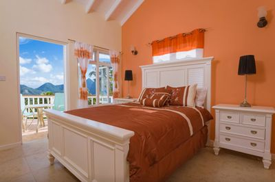 Second Bedroom with view of the Ocean and Twin Piton Mountains
