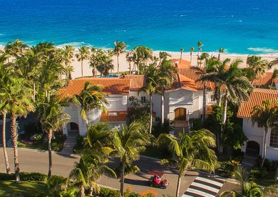 Stunning aerial view of villa and beach