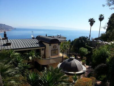 Photo for LUXURY PANORAMIC LOFT, private terrace, swimming pool, garage, Taormina center