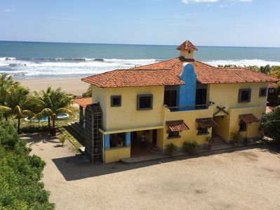 Aerial View of home, pool and Pochomil beach from the private parking area