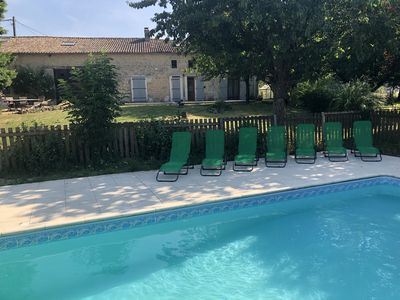Photo for Large Charentaise stone house with private pool and gardens
