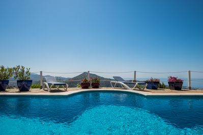 Totally private pool terrace with incredible sea and mountain views.