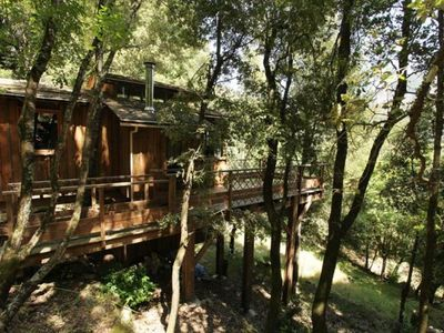 Photo for Cabin - Chalet between sea and mountains, integrated in the trees, all comfort
