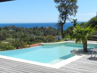 Photo for Contemporary Villa: Panoramic view of the sea, the beach and the islands .......