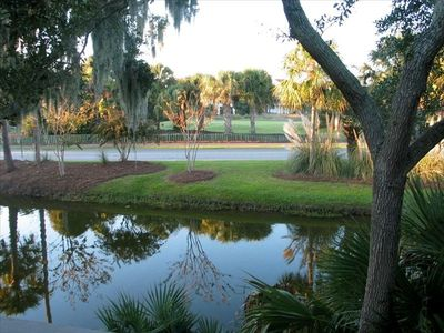Living Room View - Lagoon & 4th Green of Links Golf Course