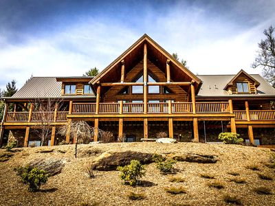 Photo for The Lodge - Indoor Pool, outdoor Fireplace, theater room, hot tub. GREAT VIEW!