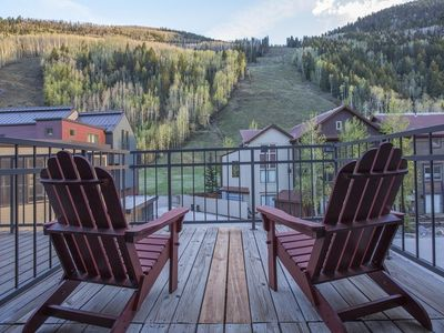 Photo for Slopeside views off the front porch. Ski in/out, private hot tub: Cimarron Peaks