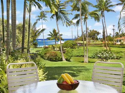 "Photo for Poipu Luxury Ocean Front Poipu Beach ""A/C Living Room"" *Manualoha 102*"
