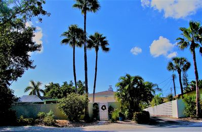 Pool Home located behind a privacy wall in a quiet residential neighborhood.