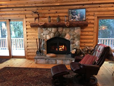 Photo for Charming Log House Steps Away from Boyne River Footage