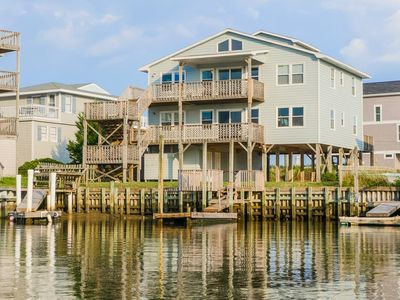 Photo for TRANQUIL DUNES: 5BR/3BA, Sleeps 10, canalfront, dock, ocean views, Topsail Beach